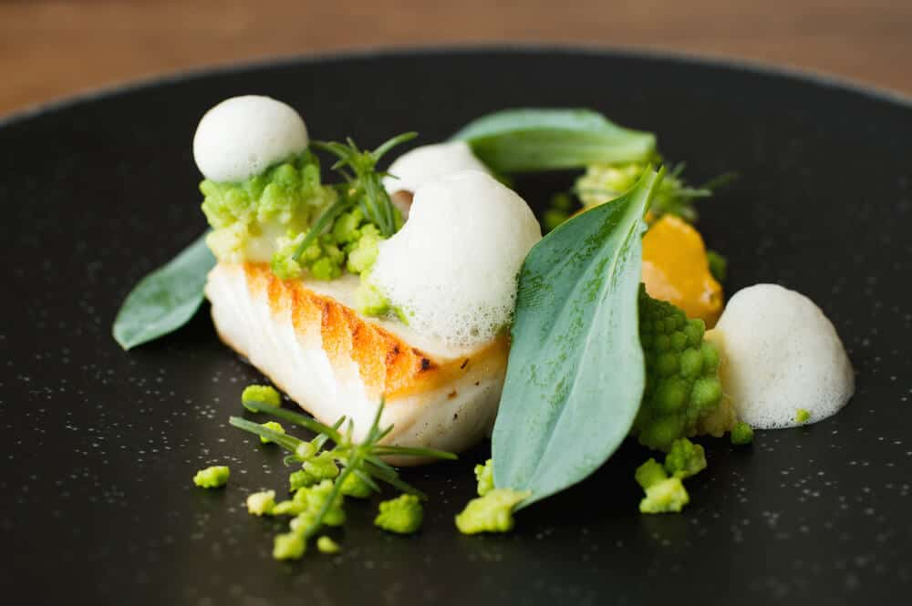 HALIBUT, CURRY, ROMANESCO, BERGAMOT, OYSTER LEAF