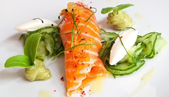 MARINATED SALMON WITH WASABI-CUCUMBER SALAD & AVOCADO PURÉE