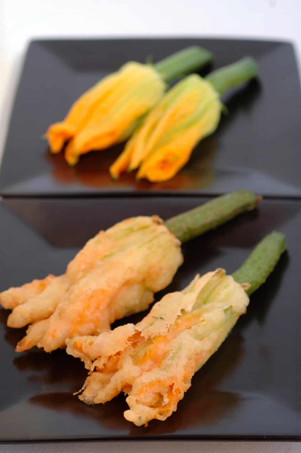 Persian Fetta and Caper Stuffed Zucchini Flowers
