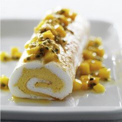 Mango and Passionfruit Meringue Roulade