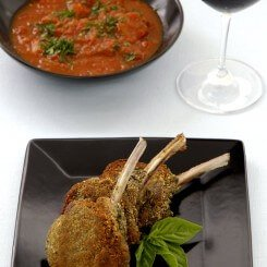 Pesto Crusted Lamb Cutlets with Eggplant and Olive Caponata