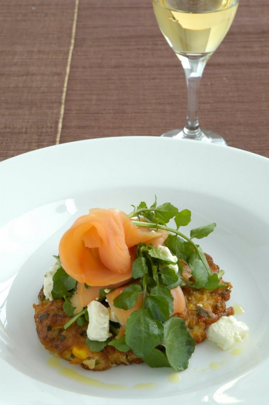 SMOKED SALMON WITH WATERCRESS AND PERSIAN FETTA ON CORN FRITTERS