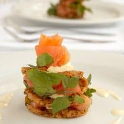 SMOKED SALMON ON POTATO ROSTI WITH DILL CREME FRAICHE AND WATERCRESS