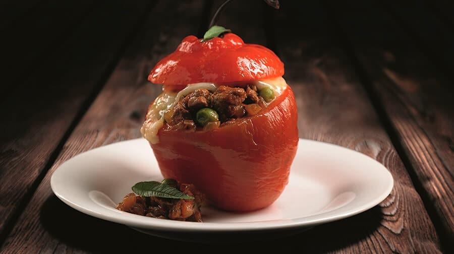 Peruvian Stuffed Red Peppers with traditional filler
