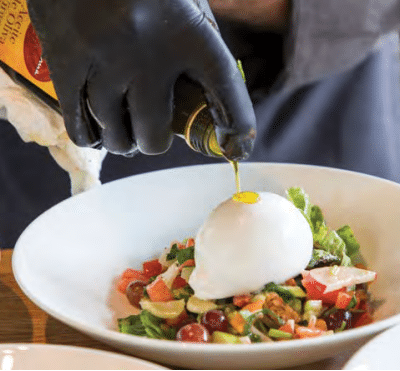 Burrata on Summer Salad with Honey