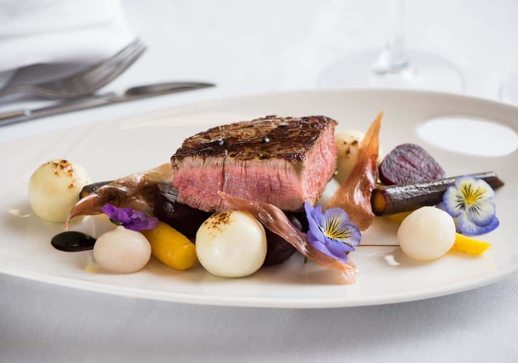 TIM STAMP'S DEXTER BEEF FILLET, MAPLE GLAZED CURED HAM, GRILLED GOAT'S CHEESE & BABY ROOT VEGETABLES