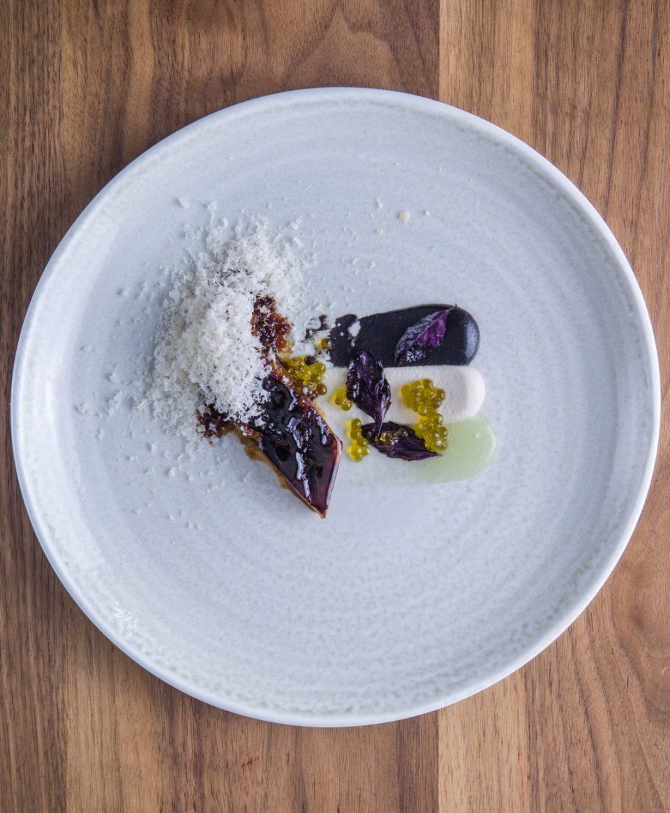"roasted eggplant with black garlic mojo, macadamia nuts, purple basil and ""hoja santa"" sauce"