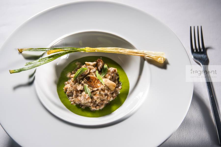 Barley with spinach sauce / oyster mushrooms / thyme / parmesan