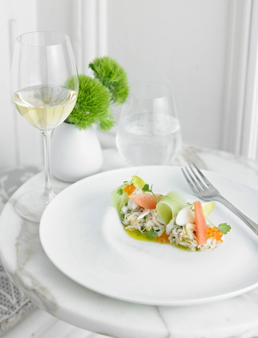 SALAD OF SAND CRAB, HEART OF PALM, CORIANDER AND MINT