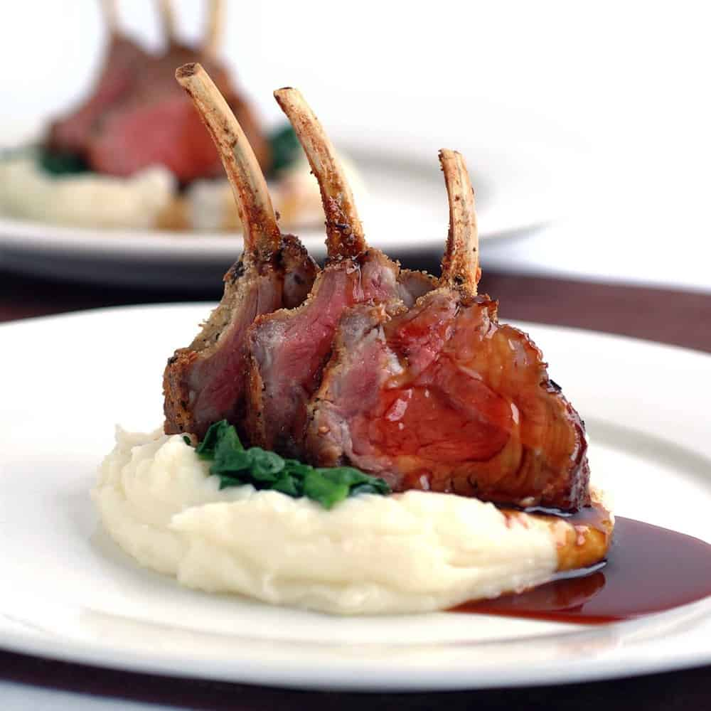 Herb & Parmesan Crusted Lamb Racks With Mash Potato & Red Wine Jus