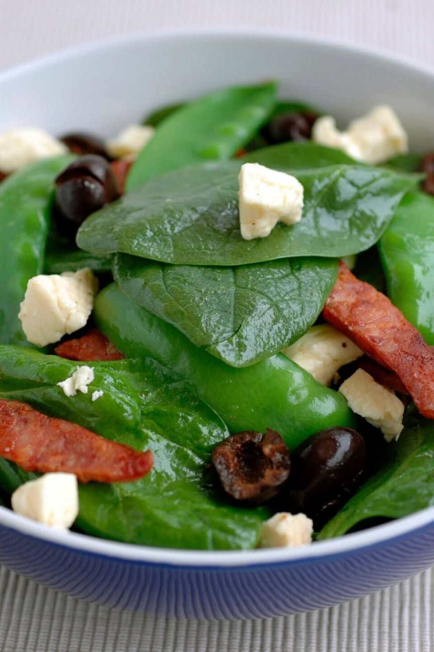 SPINACH SALAD WITH CHORIZO AND FETTA