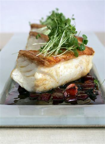 ROAST HALIBUT, WITH BEETROOT, BACON AND BLACK PUDDING DRESSING AND HORSERADISH CREAM