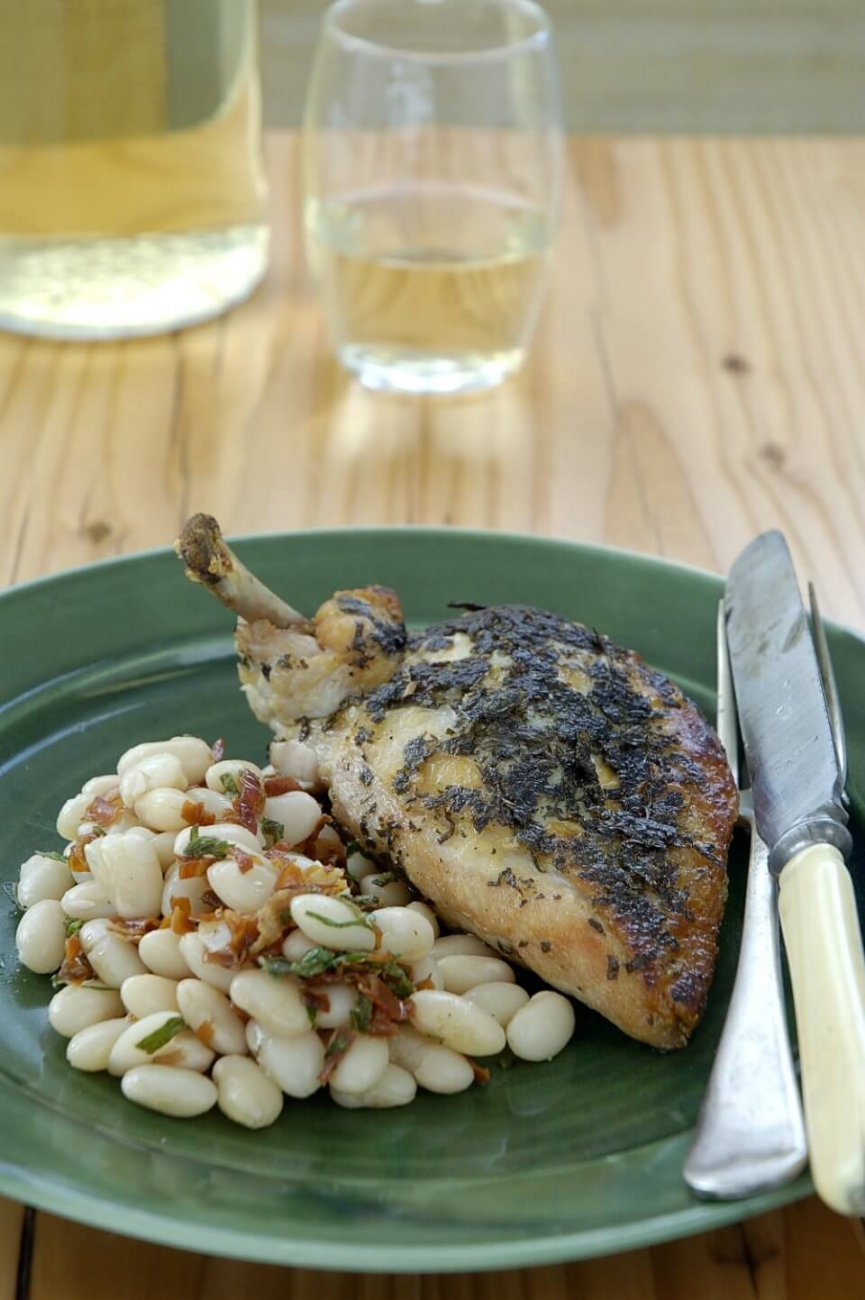 HERB MARINATED CHICKEN BREAST WITH PROSCIUTTO AND WHITE BEAN SALAD