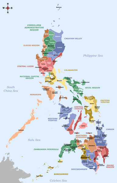 Labelled map of the Philippines