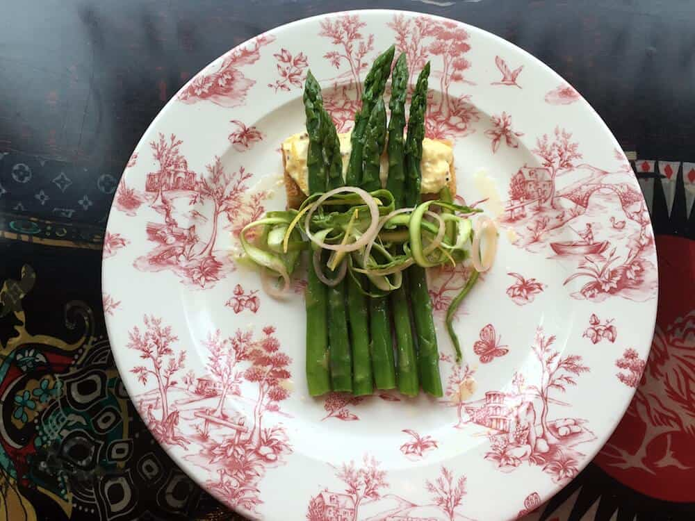 ASPARAGUS SALAD, MEYER LEMON DRESSING & EGG SALAD CROSTINI