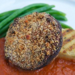 Ricotta & Walnut Stuffed Field Mushroom on Herbed Polenta with Buttered French Beans and Roast Pepper & Port Jus