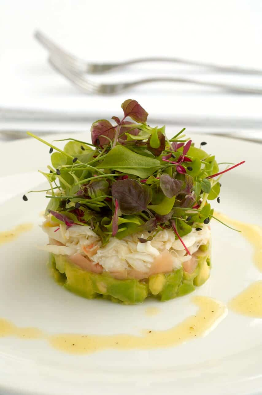 Crab Avocado Pickled Ginger And Baby Herbs With Lemon
