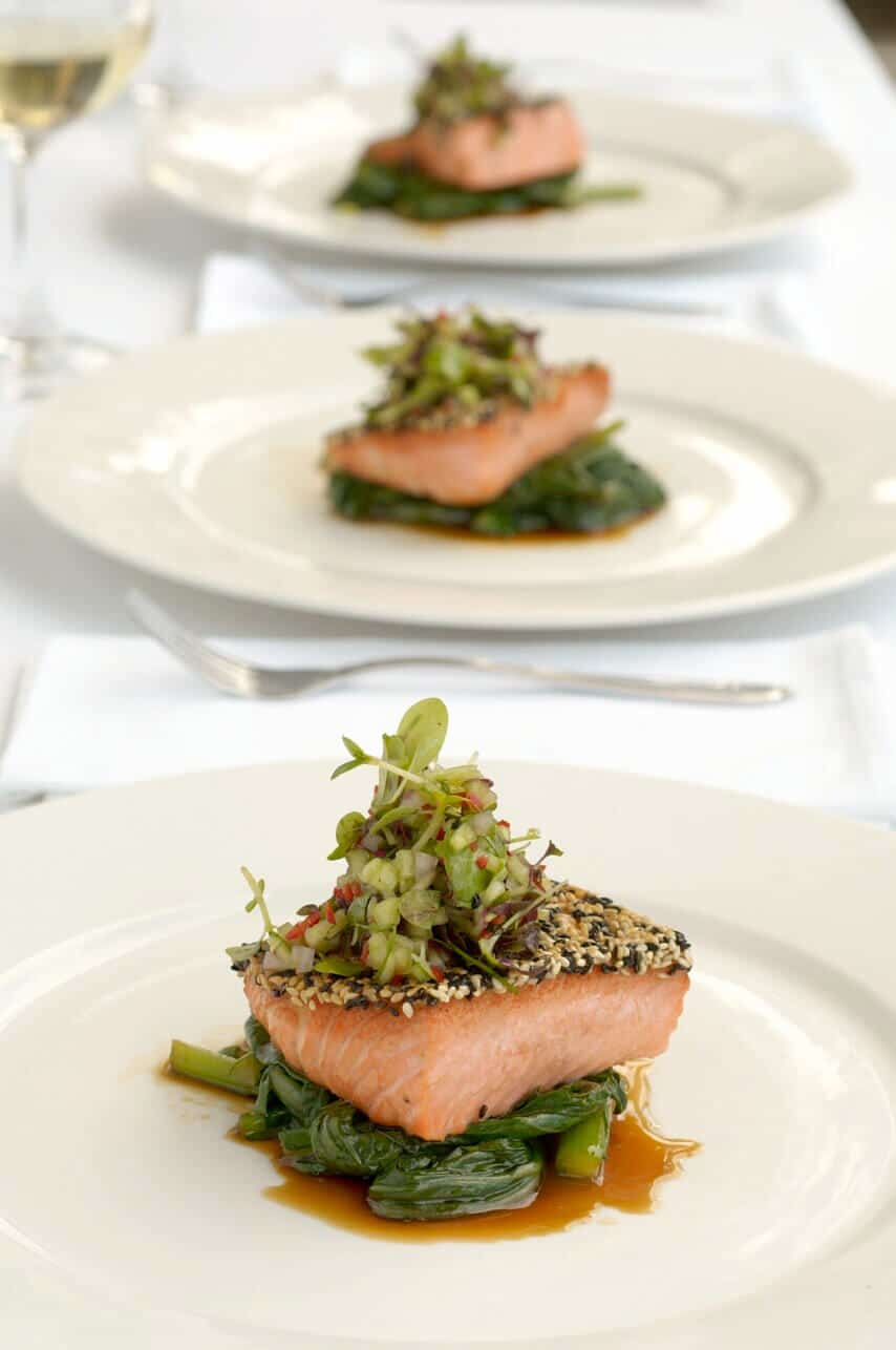 Sesame Crusted Ocean Trout on Choy Sum with Cucumber and Micro Herbs ...