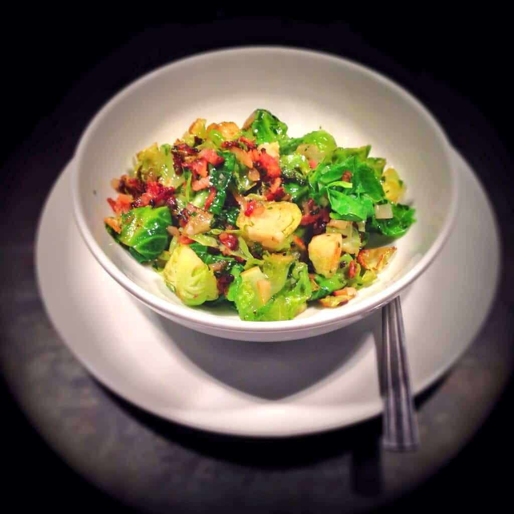 BRUSSELS SPROUTS WITH BACON, CIDER AND HERBS