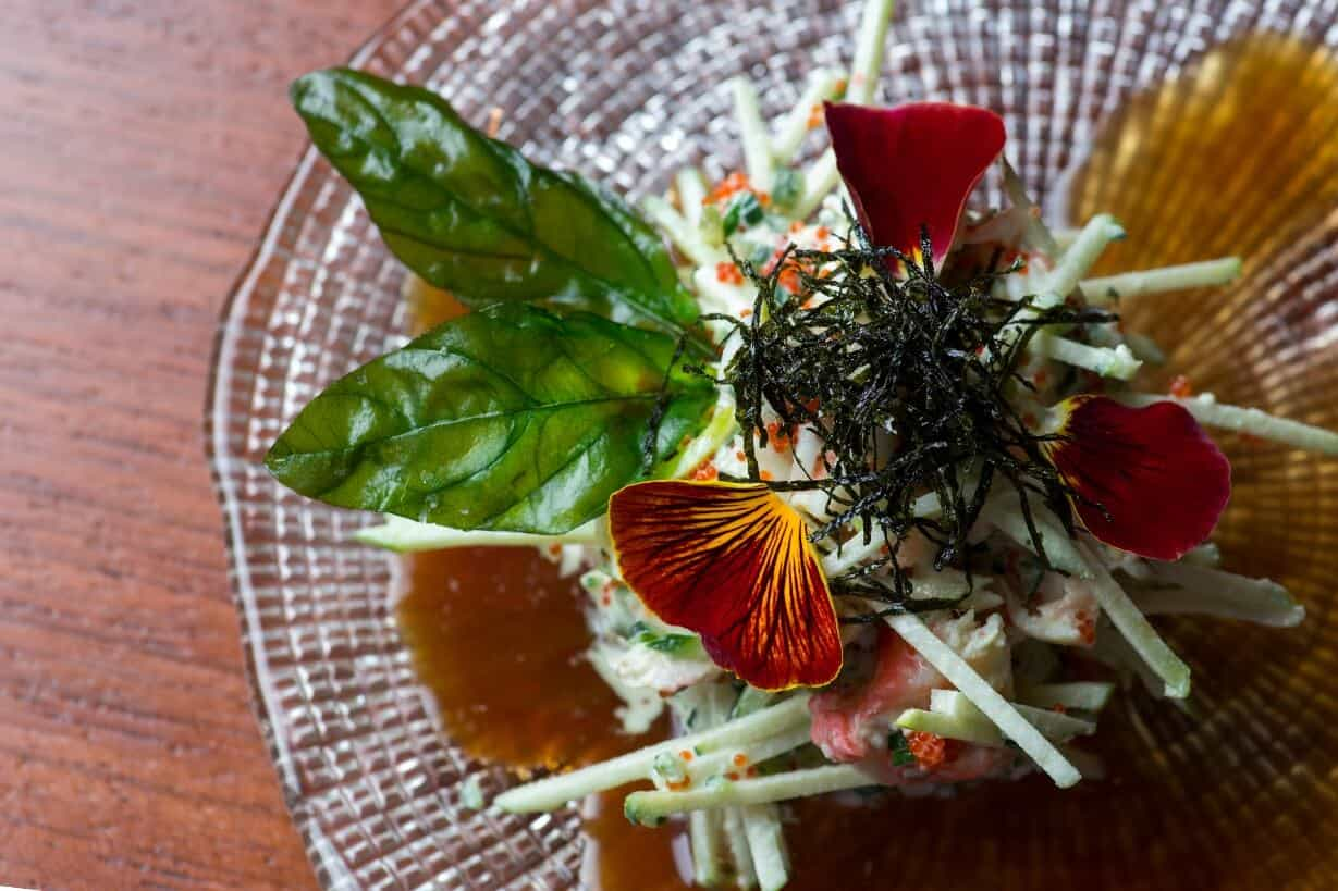 CRAB APPLE SALAD WITH WASABI DRESSING