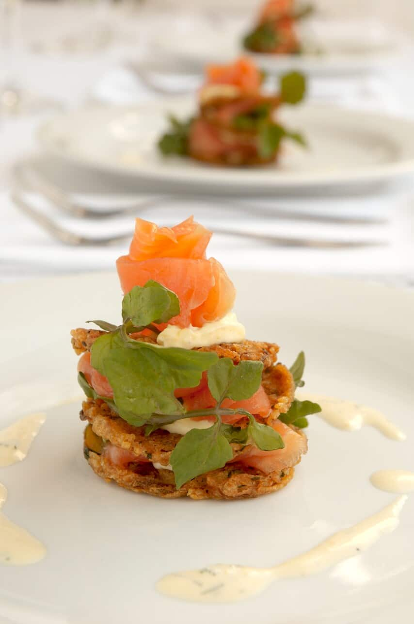 Smoked Salmon on Potato Rosti with Dill Creme Fraiche and Watercress ...