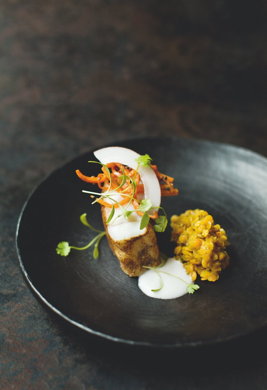 MONKFISH MASALA WITH RED LENTILS, PICKLED CARROTS AND COCONUT GARNISH