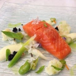 CONFIT OCEAN TROUT WITH CAULIFLOWER PUREE