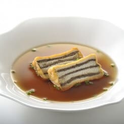 Beef Consomme with Hot Spleen Sandwiches