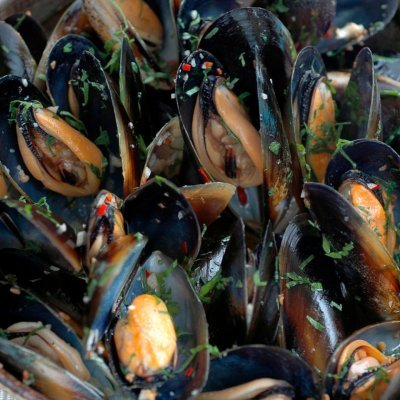 Chilli Mussels in White Wine with Garlic