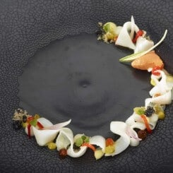 SQUID, RED BELL PEPPER, PICCALILLY, AVOCADO