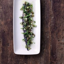 FLAMED MACKEREL, DILL, CUCUMBER AND CAPERS