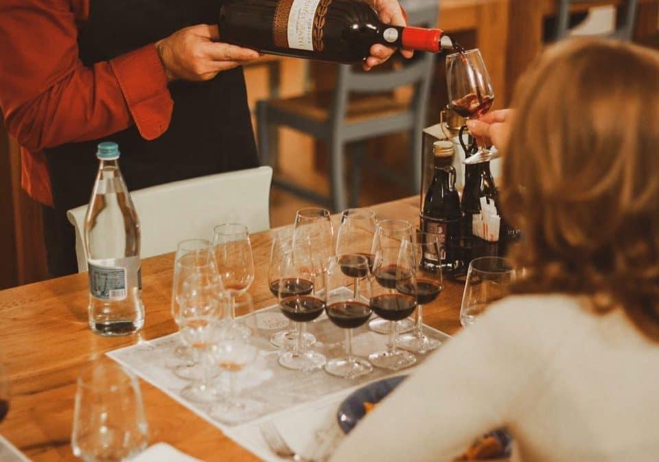 Enjoying a good wine at Roca Bruna