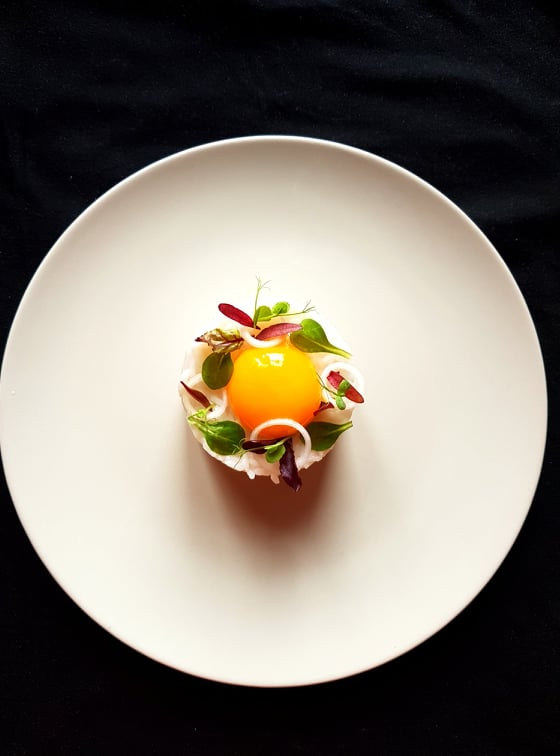 Beer Risotto with Confit Egg Yolk by Chef Raul Vidican