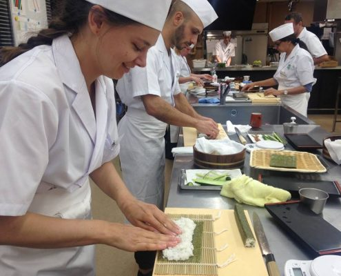 Sushi Roll Practice at the Tokyo Sushi Academy