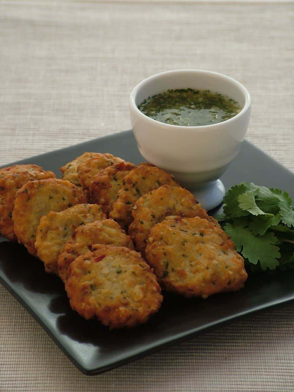 Thai Fish Cakes With Coriander And Cuber Dipping Salsa