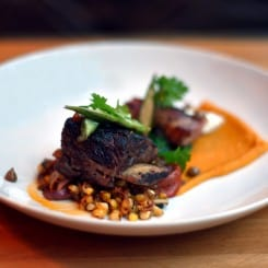 BRAISED SHORT RIBS WITH SQUASH PURÉE AND ROASTED CORN SALAD