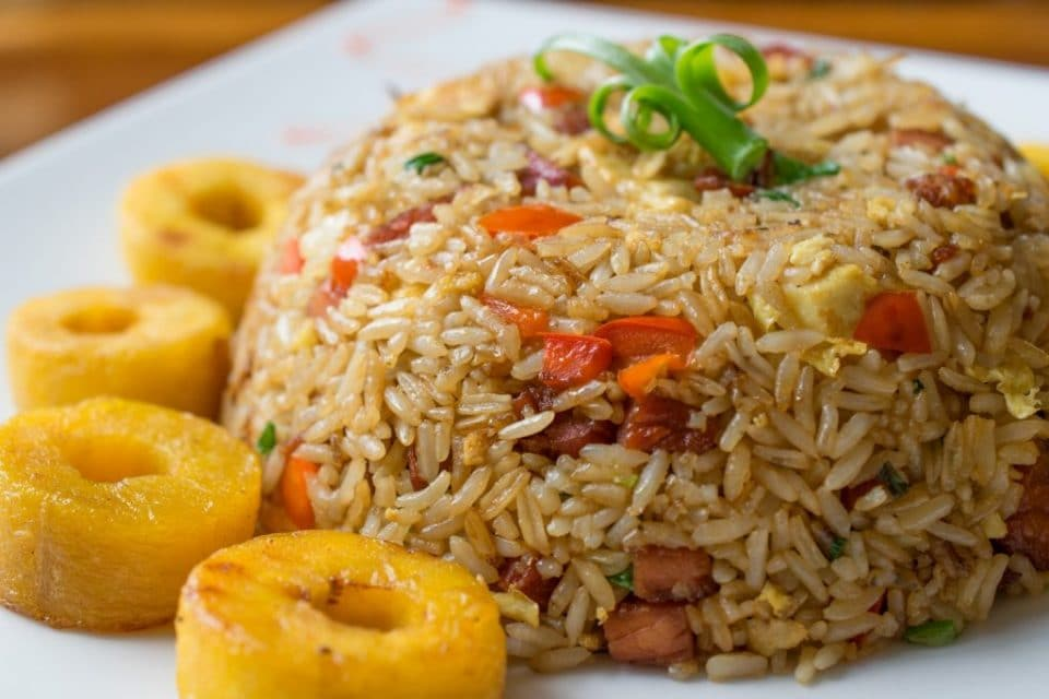 Arroz Chaufa with a side of boiled plantain