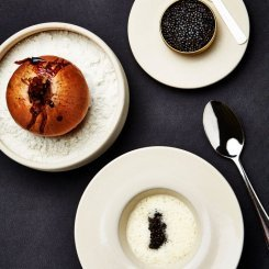 Baked Onion with Elderflower Beurre Blanc and Oscietre Caviar