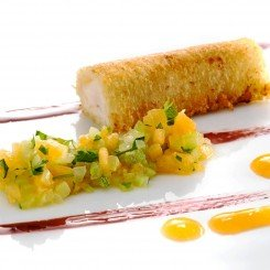 Crispy-bread-cannolo-with-sea-bass-and-brunoise-of-melon-and-celeryb