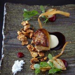 'Foie Gras-nola' & Big Num-Num (seared foie gras, honey-nut granola, parsnip, onion marmalade)
