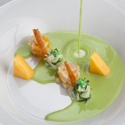Green Kohlrabi Soup with Mango, Mint Salad and Rabbit Stew Thomas Kellermann Kastell gourmet restaurant Wernberg Castle edit
