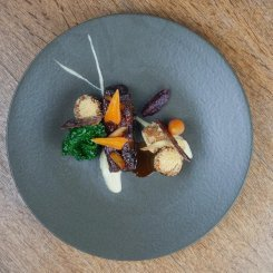 Michael Facey's Mead and Malt Glazed Lamb Shoulder with Cheddar and Parsnip Hash Browns, Salt Baked Turnips, Glazed Carrots, Turnip Puree and Lamb Jam
