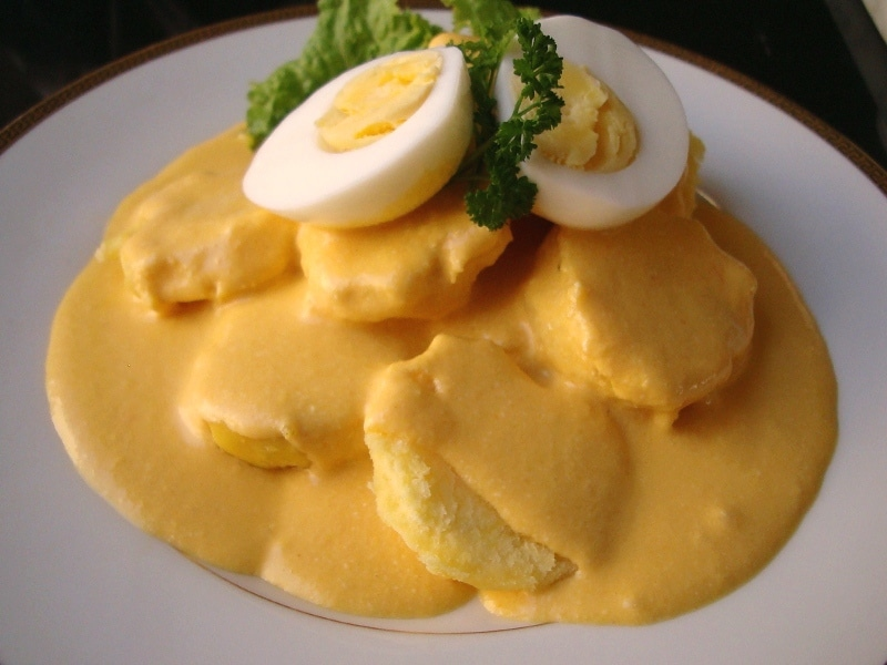 Huancaina Potatoes with egg slices