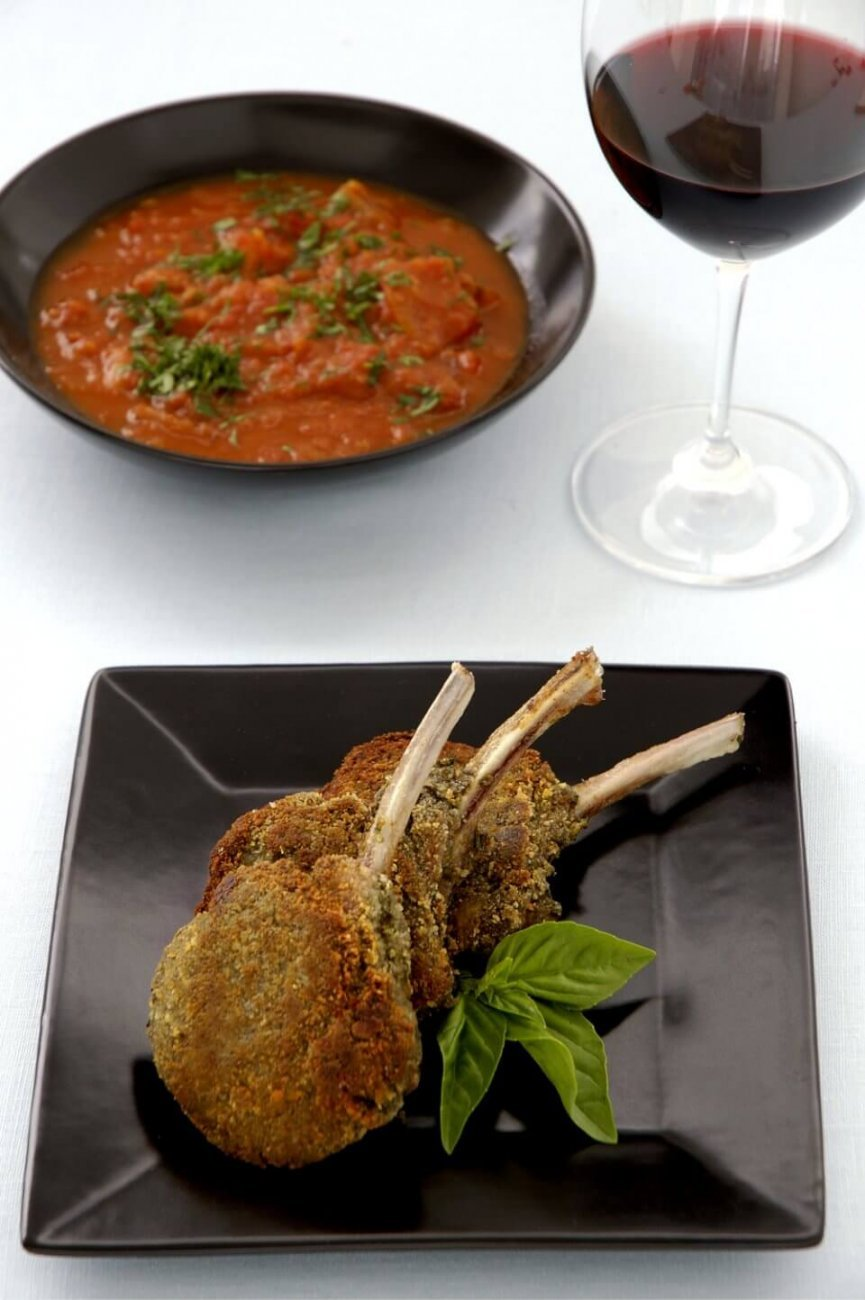 Pesto-Crusted Lamb Chops with Eggplant by Chef Paul Hegeman