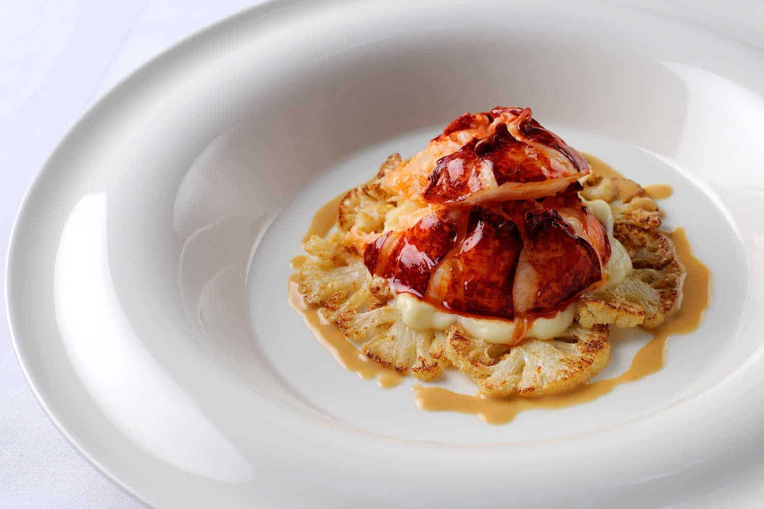 Poached-Lobster-Tail-with-Cauliflower-and-Lobster-Butter-Sauce1