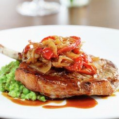 Pork Cutlet, Crushed Garden Peas with Red Pepper Relish