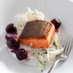 Pan Roast King Salmon Fillet with Beetroot, Fennel, Radish, Labna and Soft Herbs