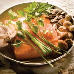 SALMON CONFIT WITH HERBS AND NUTS edit