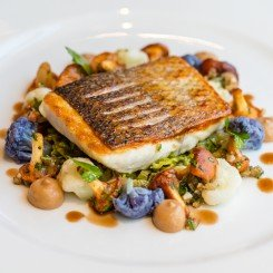Line Caught Seabass, Yeasted Cauliflower Purée, Chanterelle Mushrooms