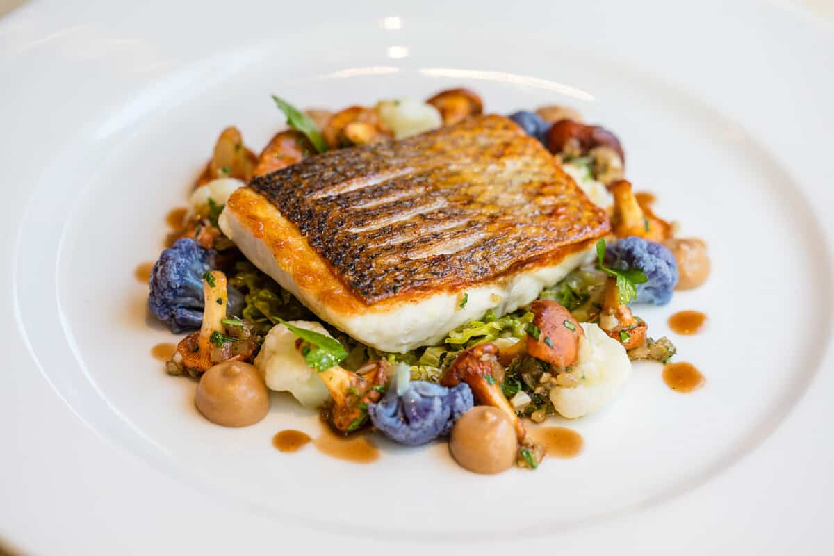 Line Caught Seabass Yeasted Cauliflower Pur 233 E